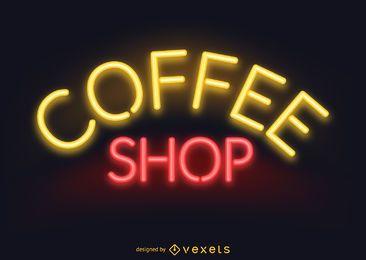 Letrero de cafetería neón