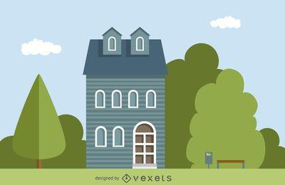 Ilustración de casa clásica