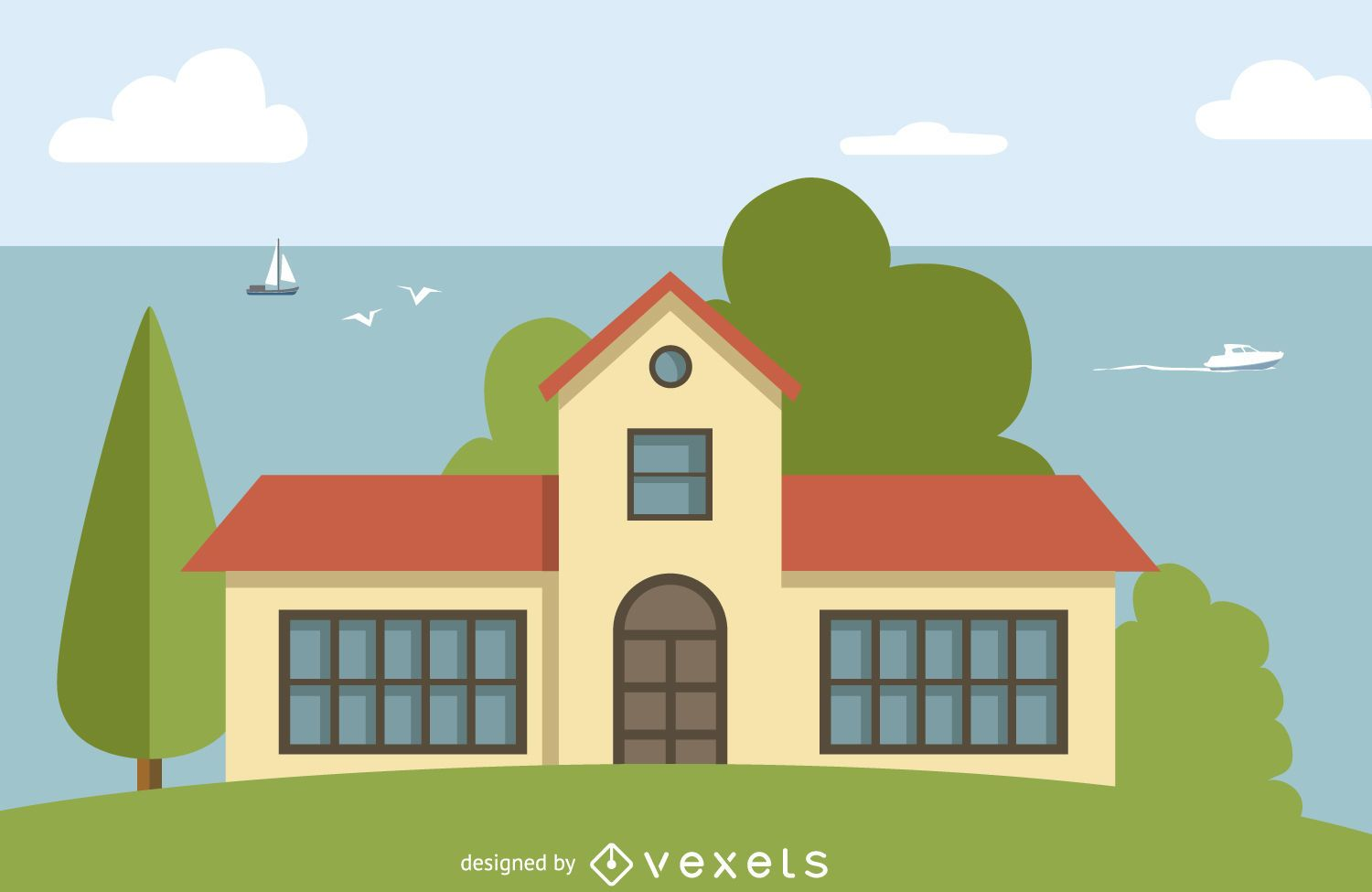 Big house illustration vector download for Big house images