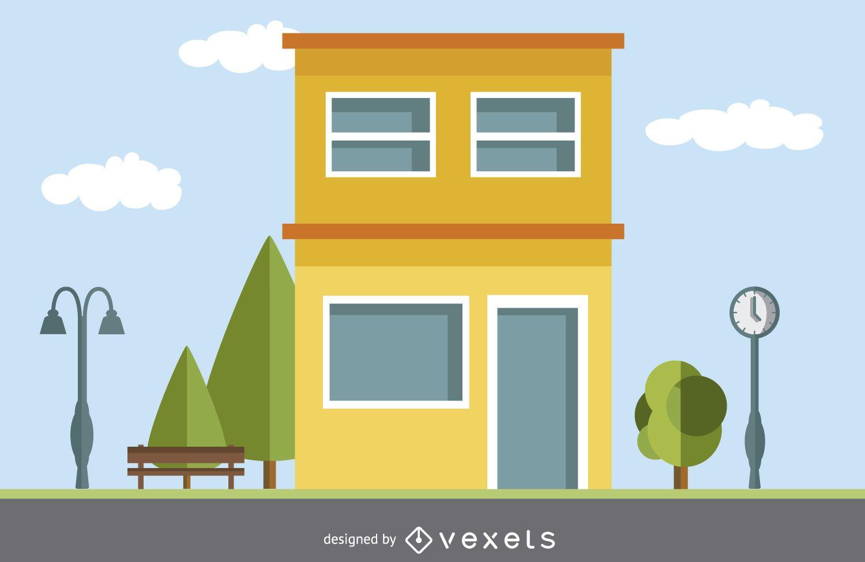 Nuevo dibujos de casas con color for Casa moderna vector