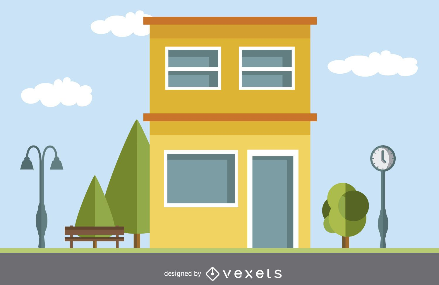 Modern House Drawing Vector Download