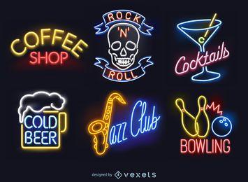 Conjunto de sinais de néon