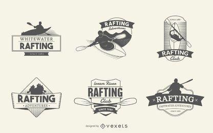 Jogo de etiqueta do logotipo Rafting