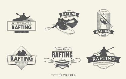 Rafting logo label set