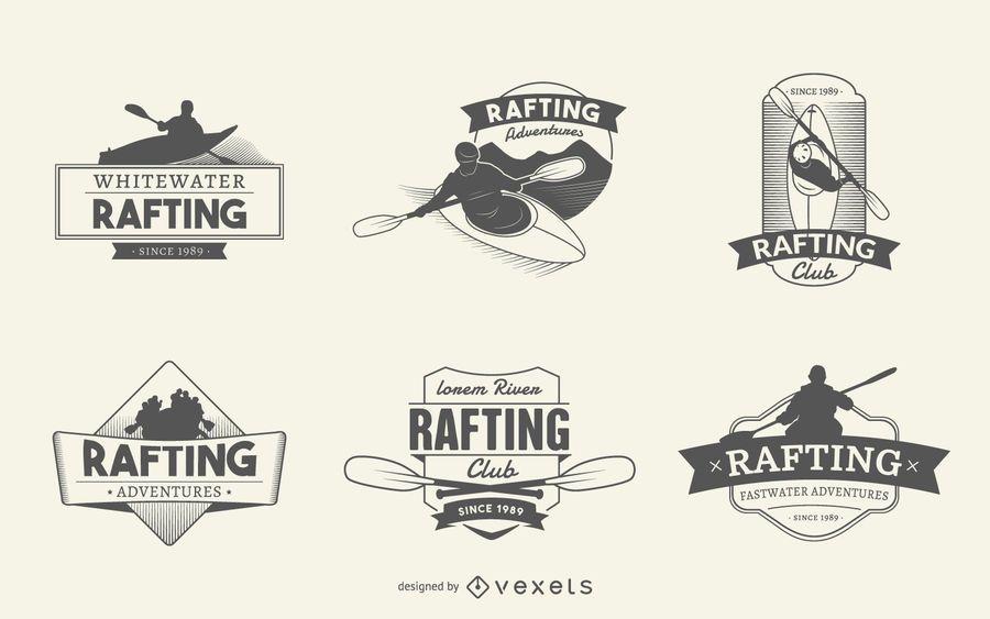 Rafting logo label set