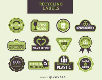 etiquetas de reciclagem definido