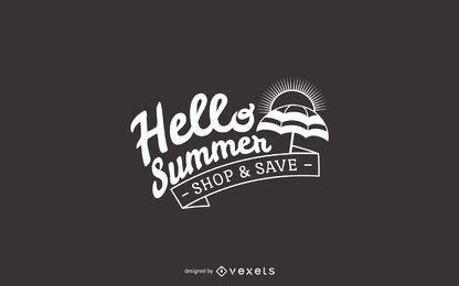 Olá sinal de venda de verão