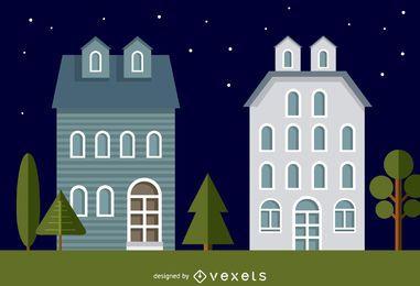 Ilustración de casas de barrio