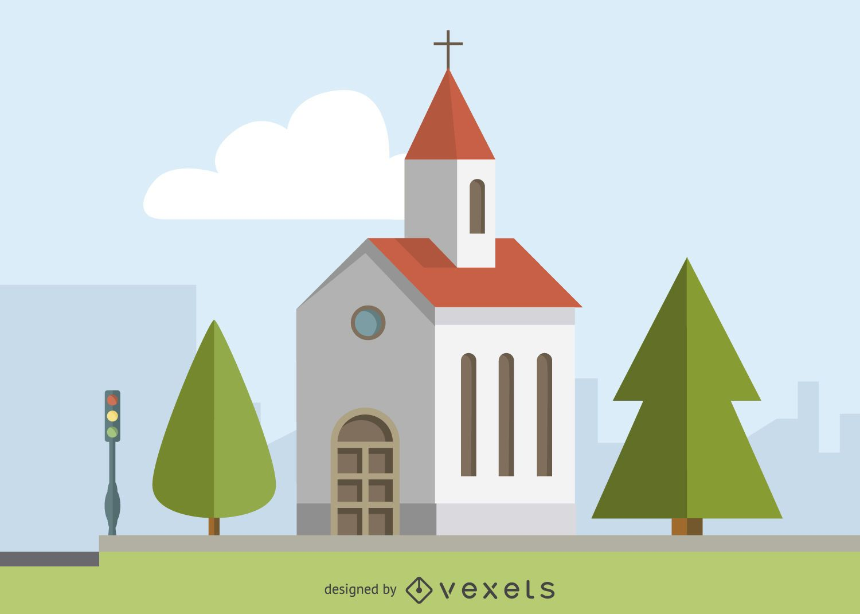 Cartaz ilustrado de igreja