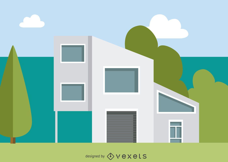 Casa ilustra o moderna vector download for Casa moderna vector
