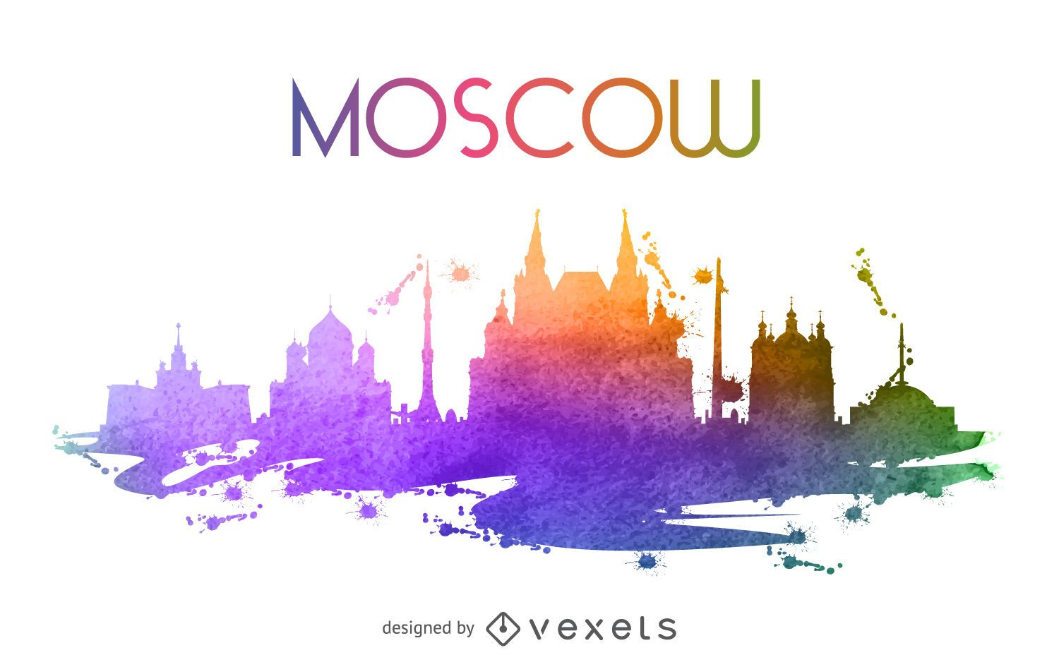 Moscow watercolor skyline illustration