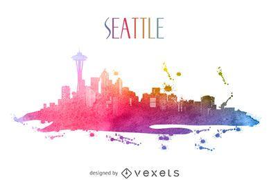 Silhueta do horizonte em aquarela de Seattle