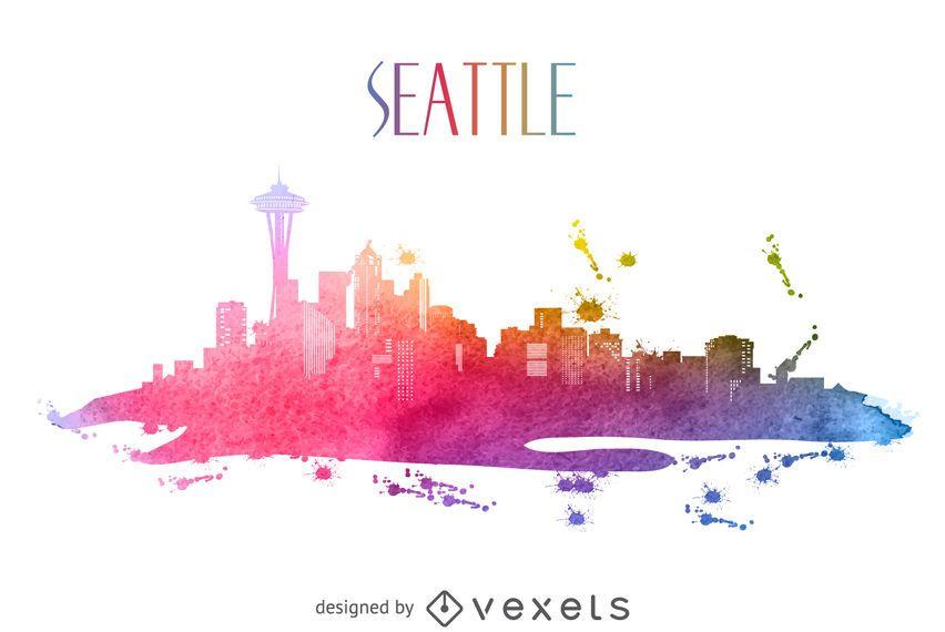 Seattle watercolor skyline silhouette