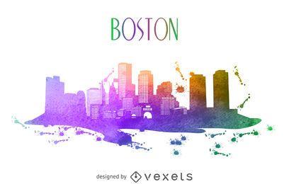 Aquarela horizonte de Boston
