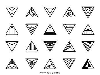 Conjunto de logótipo triangular