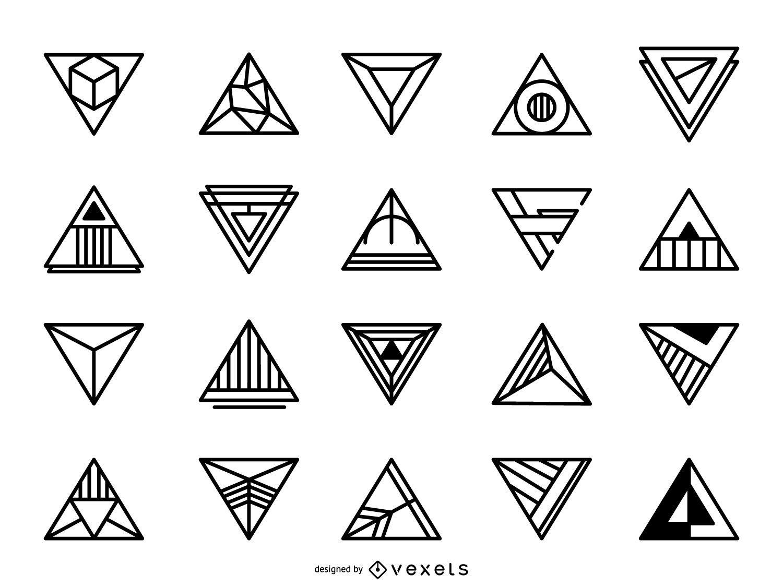 Conjunto de logotipo triangular