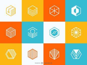 Conjunto de logotipo geométrico