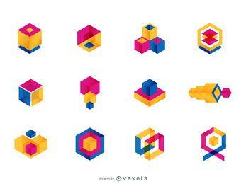 Conjunto de logotipo geométrico colorido
