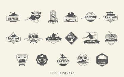 Conjunto de insignias con logo de rafting