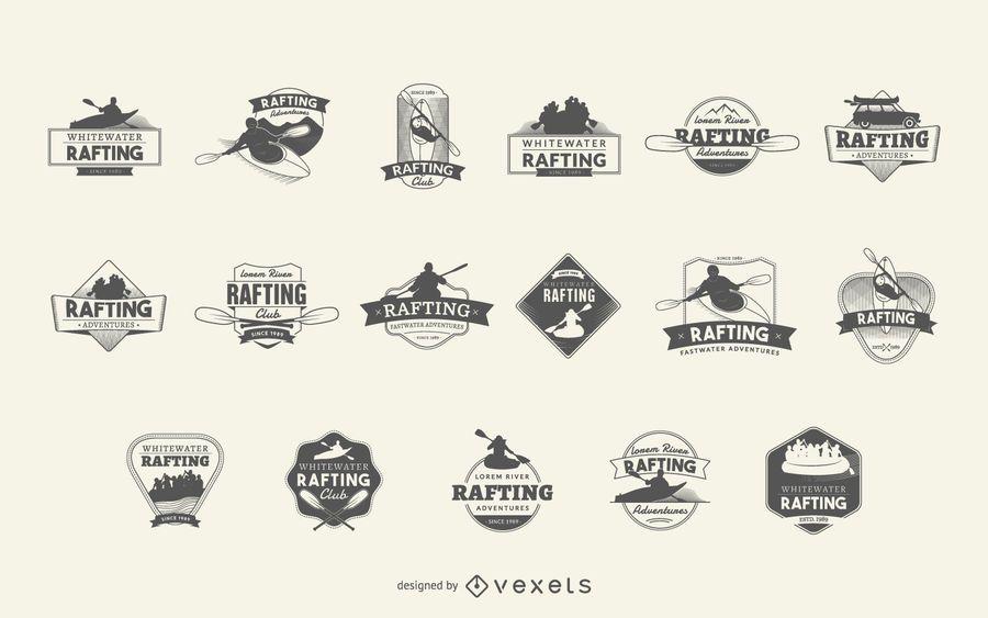 Rafting logo badge set