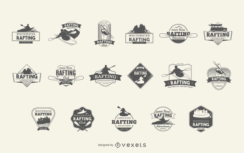 Conjunto de logotipo do Rafting