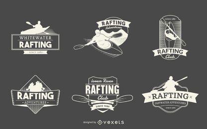 colección de etiquetas logotipo de Rafting