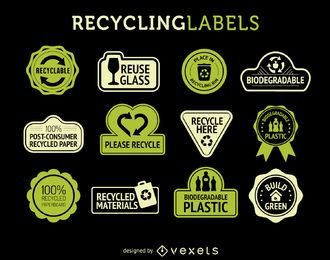 Conjunto de etiquetas de reciclagem
