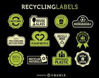 etiquetas Reciclaje de conjunto