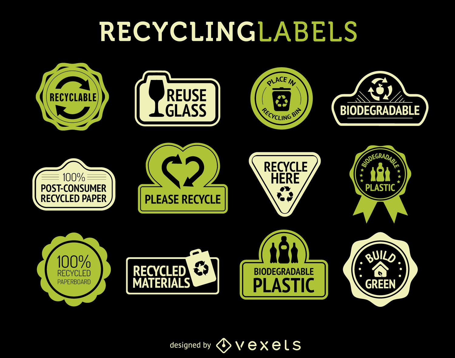 Recycle Labels Set Vector Download