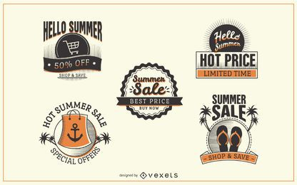 Conjunto de distintivo de rótulo de venda verão