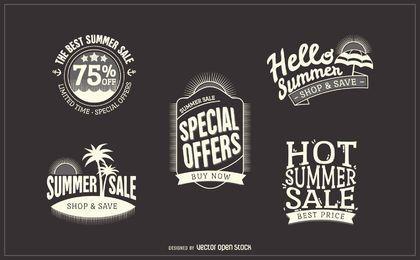 Etiquetas de insignia de venta de verano de hipster