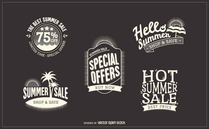 Rótulos de crachá de venda verão hipster