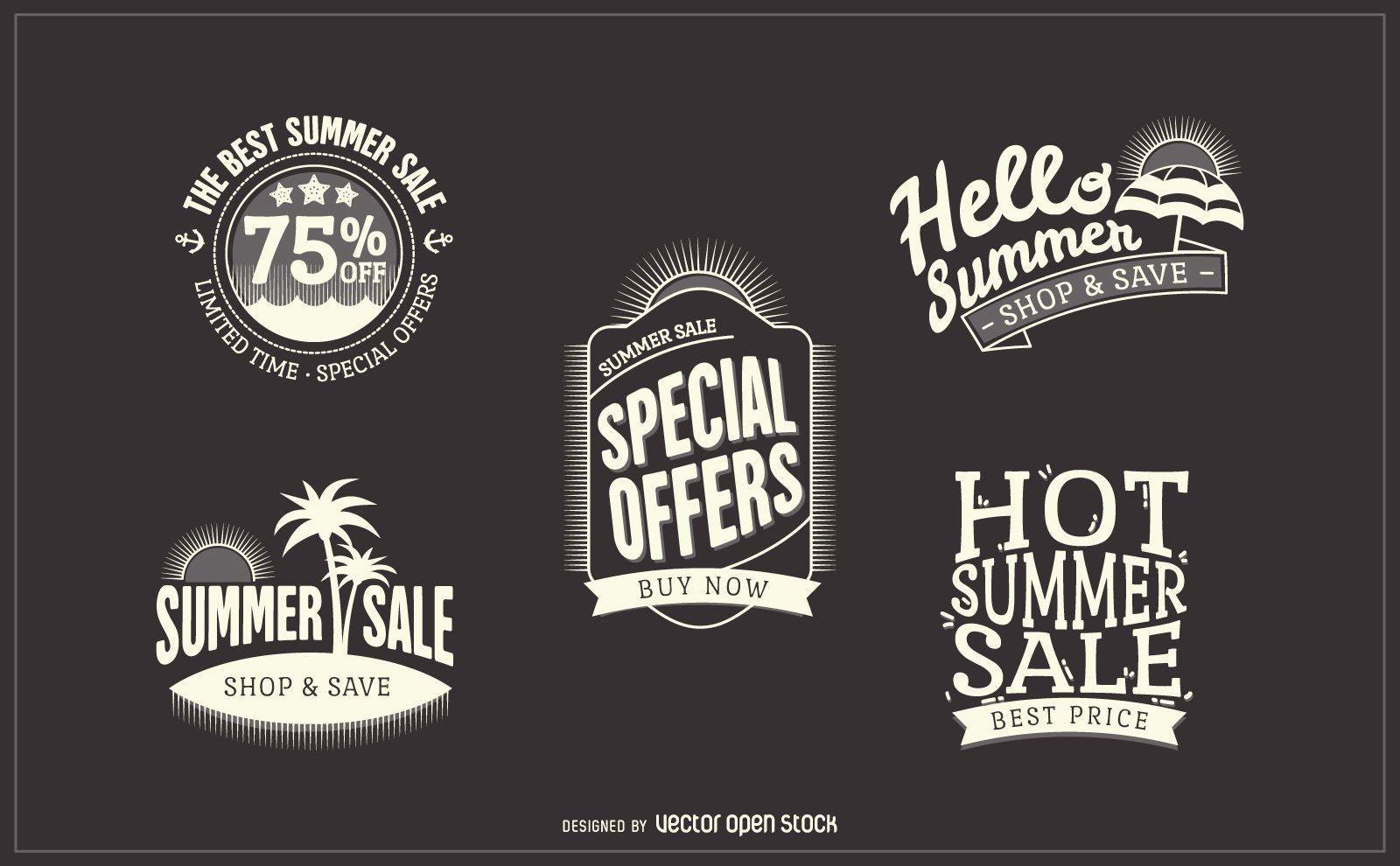Hipster summer sale badge labels