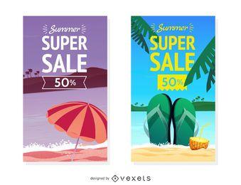 Conjunto de banner de venda de verão