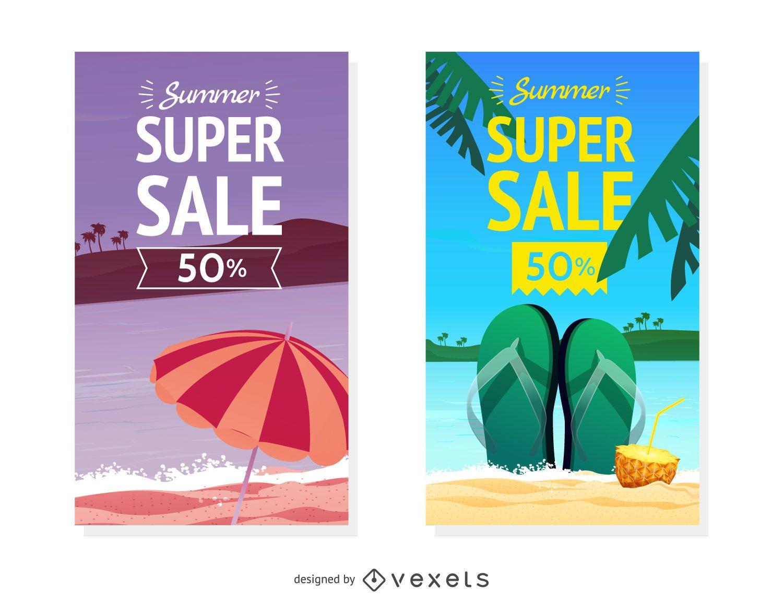 Conjunto de banner de venta de verano