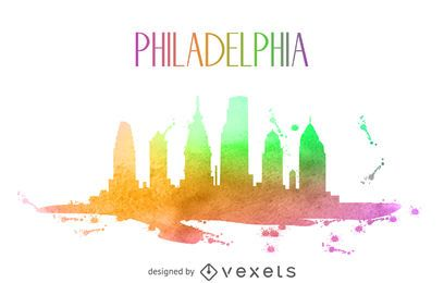 Philadelphia watercolor skyline silhouette