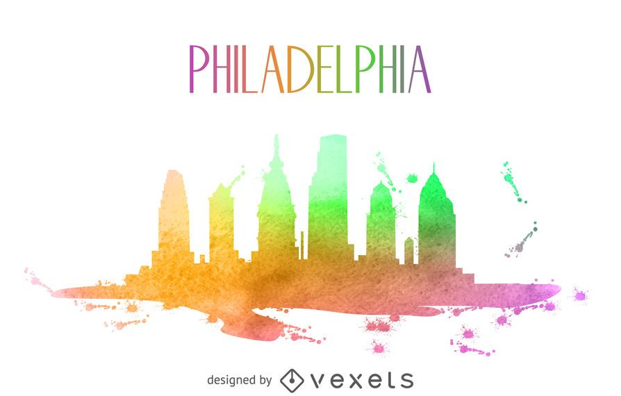 Philadelphia watercolor skyline silhouette