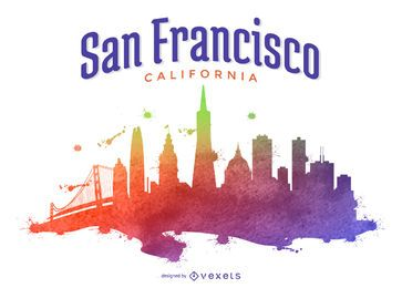 Ilustración de horizonte colorido de San Francisco