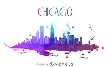 Silueta del horizonte de la acuarela de Chicago