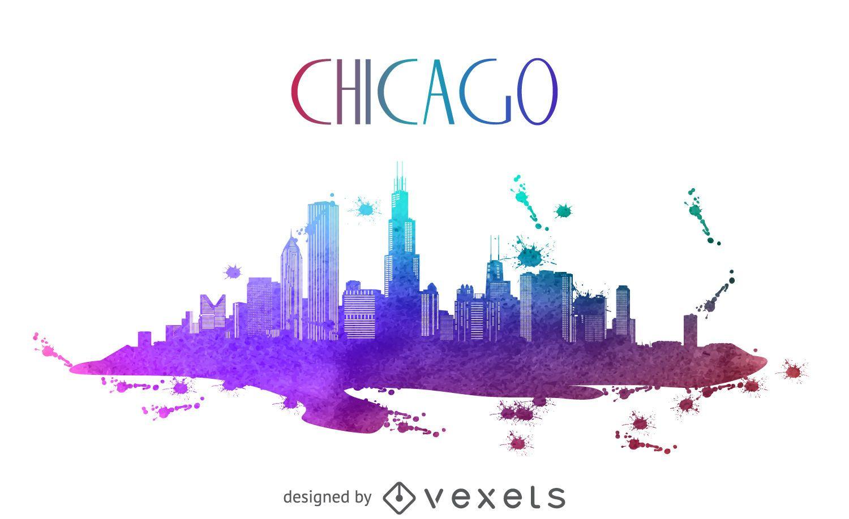 Silhueta do horizonte em aquarela de Chicago