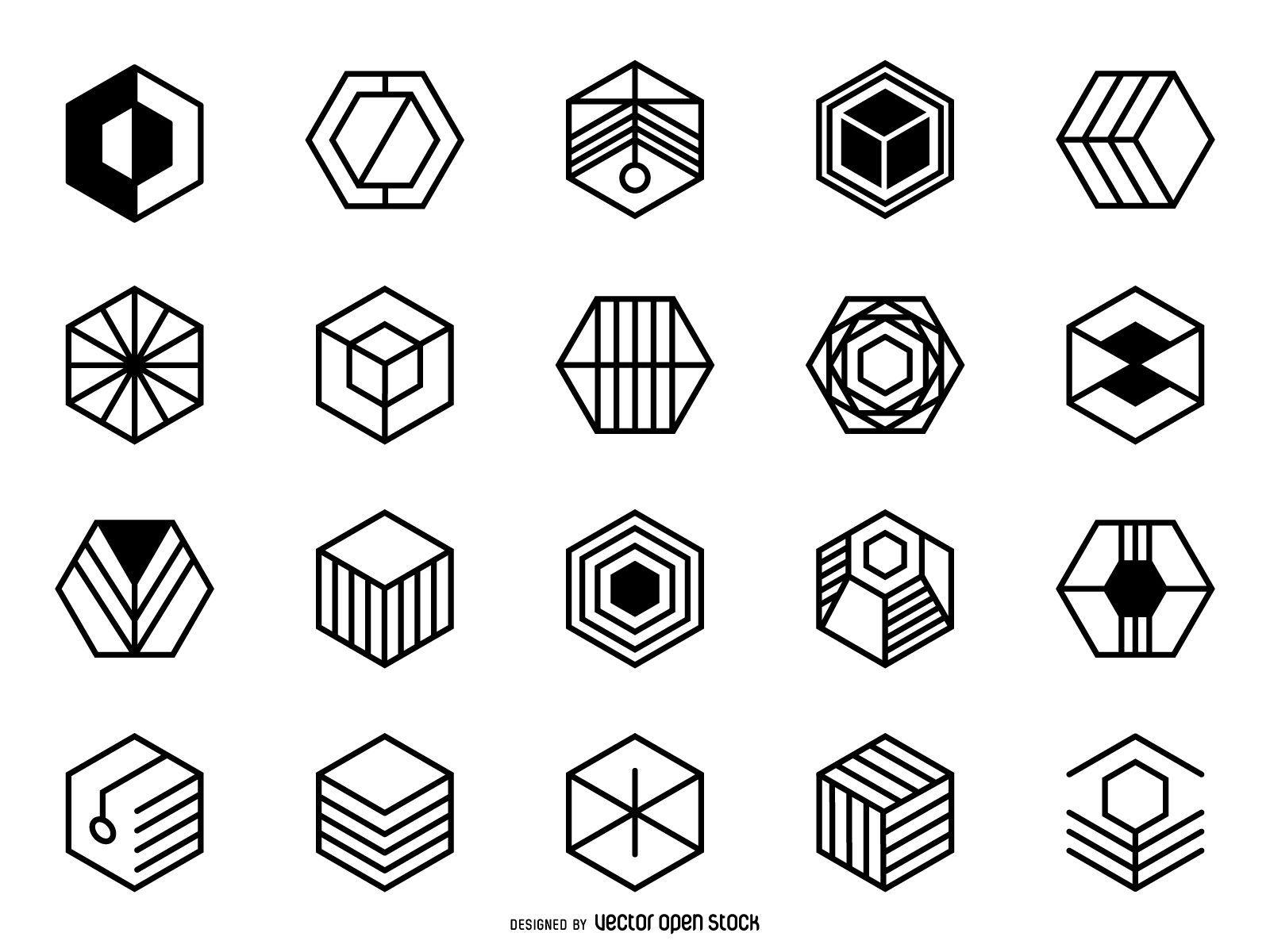 Conjunto de logo hexagonal