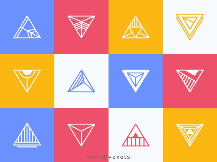 Colorido conjunto de etiquetas triangulares