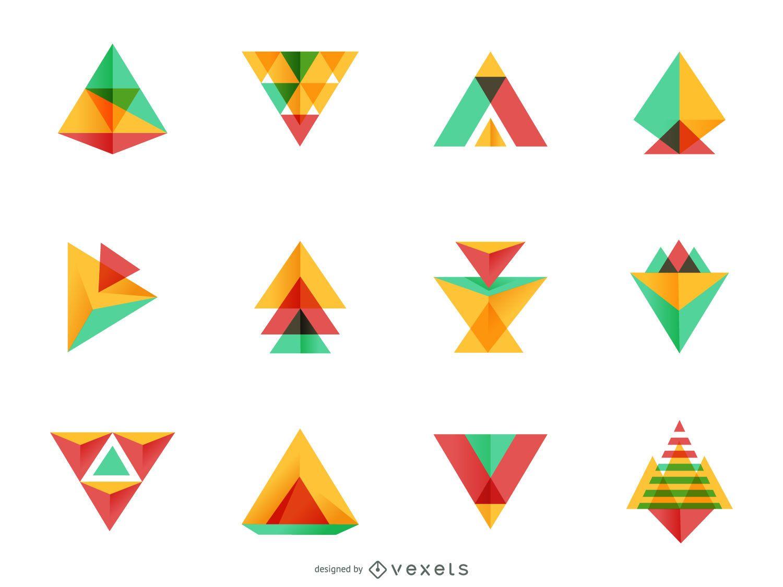 Bright triangle logo set
