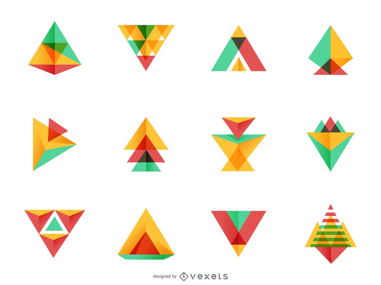 Conjunto de logotipo de triángulo brillante