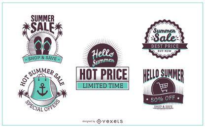 Etiquetas de descuento de venta de verano