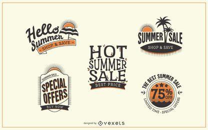 Emblemas de rótulo de venda verão hipster
