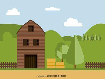 Ilustración plana granero