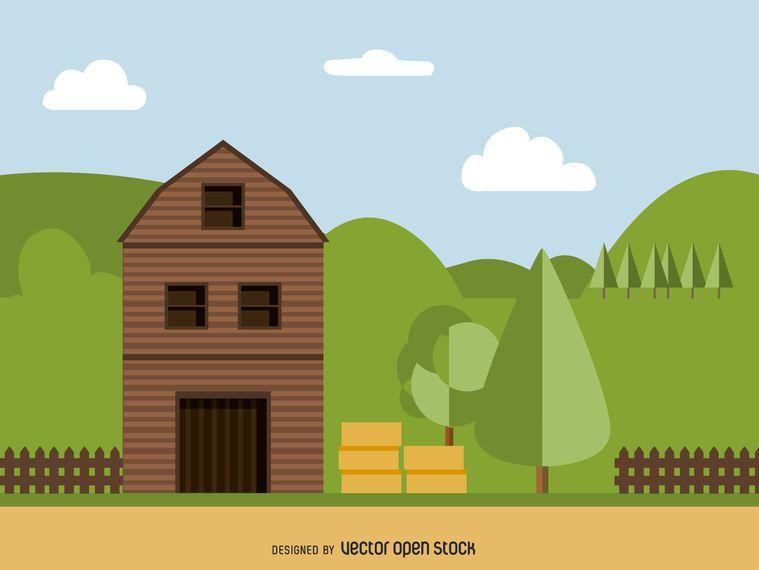 Flat barn illustration
