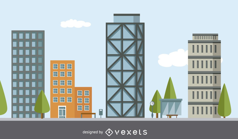 Ilustración del edificio de la ciudad