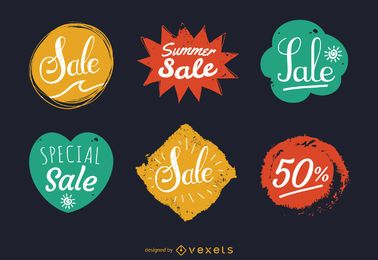 Summer sale stamp label set